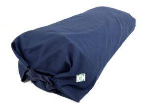 Mærkeblåt overtræk til yoga pølle med blåt bindebånd